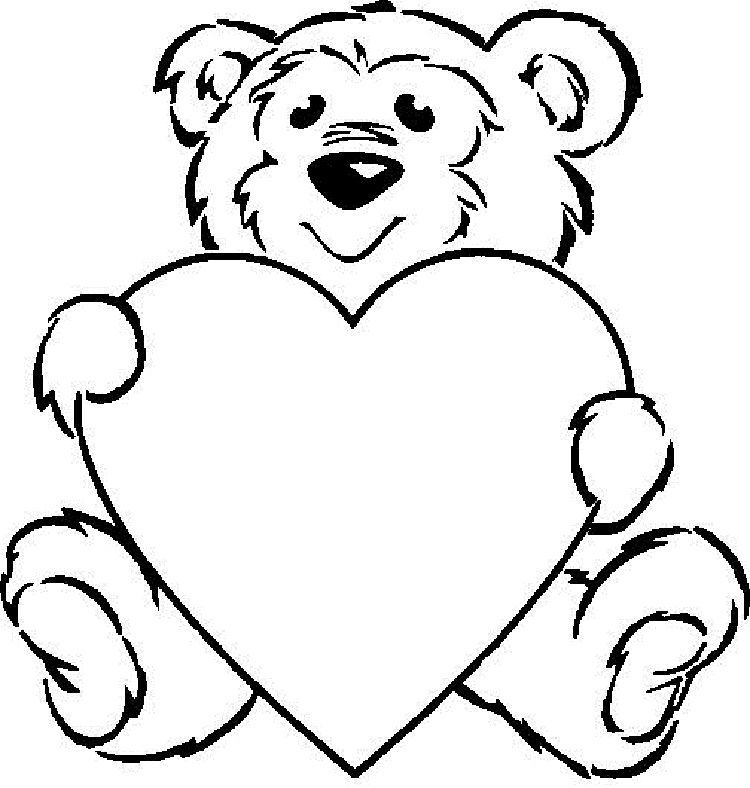 Teddy Bear Holding A Heart Coloring Pages Valentines Day Coloring Page Printable Valentines Coloring Pages Teddy Bear Coloring Pages