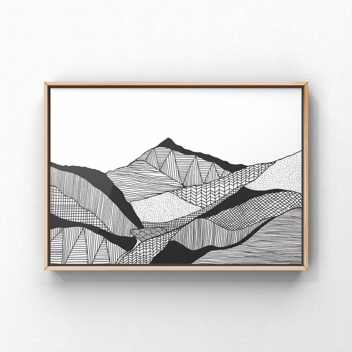 Snowdon Print 2, A4, A5, A6, Snowdonia Landscape Art, Mountain Wall Art, Welsh Gifts, North Wales Illustration, Wales Art, Black & White Art #northwales