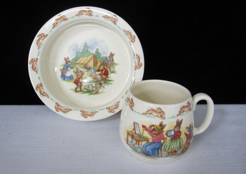 2 Pc Royal Doulton Bunnykins Baby Plate Mug Set Vintage Bone Etsy Baby Plates Childrens Dishes Mugs Set
