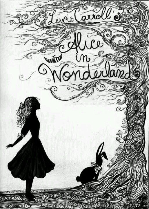 Alice In Wonderland Simple Black And White Book Cover Minimal