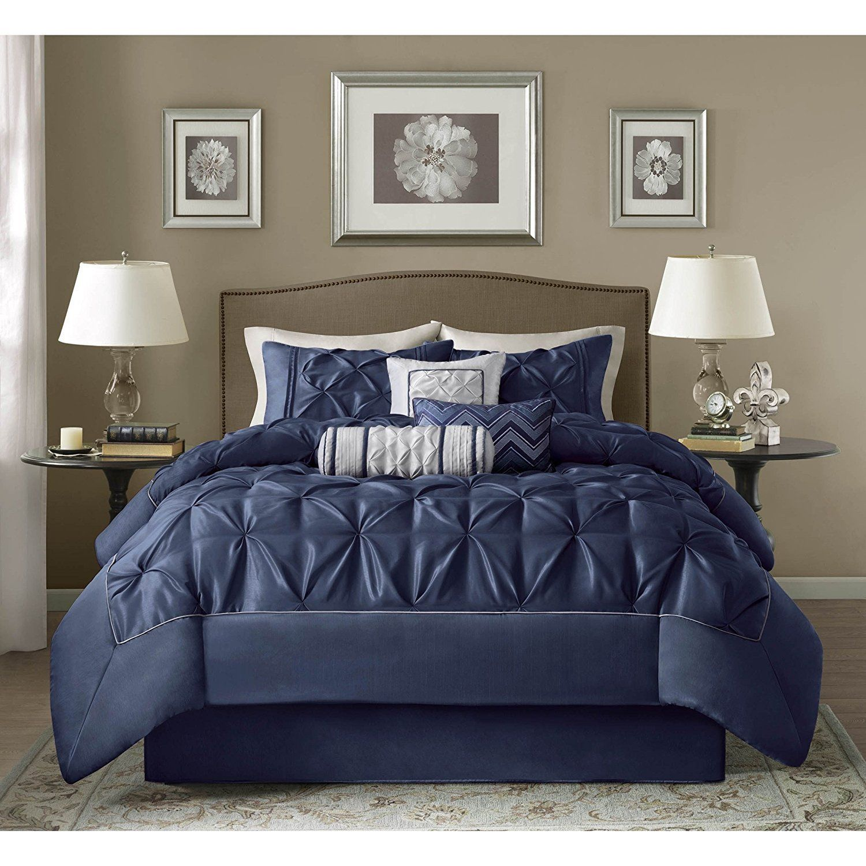 Deep Navy Blue Pintuck Comforter Cal King California Set Dark Blue Solid Color Adult Bedding Master Bedroom Mod Comforter Sets Bedding Sets Grey Comforter Sets