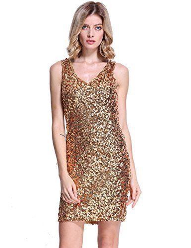 4031938dde PrettyGuide Women s Sexy Deep V Neck Sequin Glitter Bodycon Stretchy Mini  Party Dress