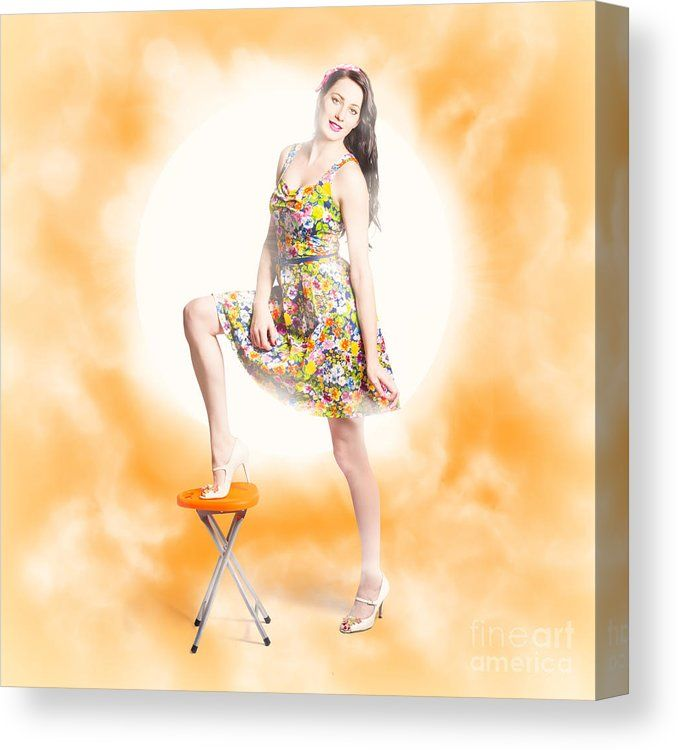 Retro Starlet Canvas Print featuring the photo Creative Pinup Girl ...