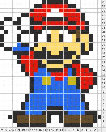 Mario #knitting color chart   Bordados   Pinterest   Bordado, Punto ...