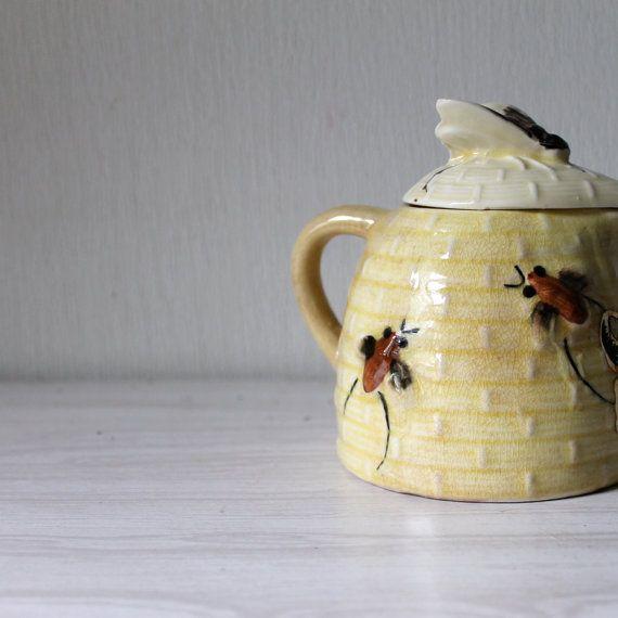 Vintage Honey Pot Jar Ceramic Bees Bee Skep By Opendoorstudio 2200