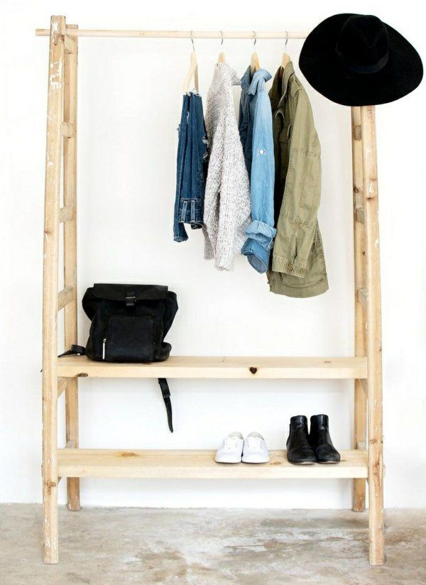 ankleidezimmer selber bauen bastelideen anleitung und bilder holzleiter garderobe selber. Black Bedroom Furniture Sets. Home Design Ideas