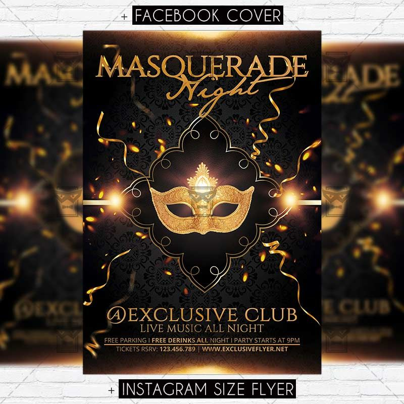masquerade night premium flyer template httpswwwexclusiveflyernet