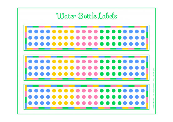 Free Candy Dot Water Bottle Labels Printable #candyparty