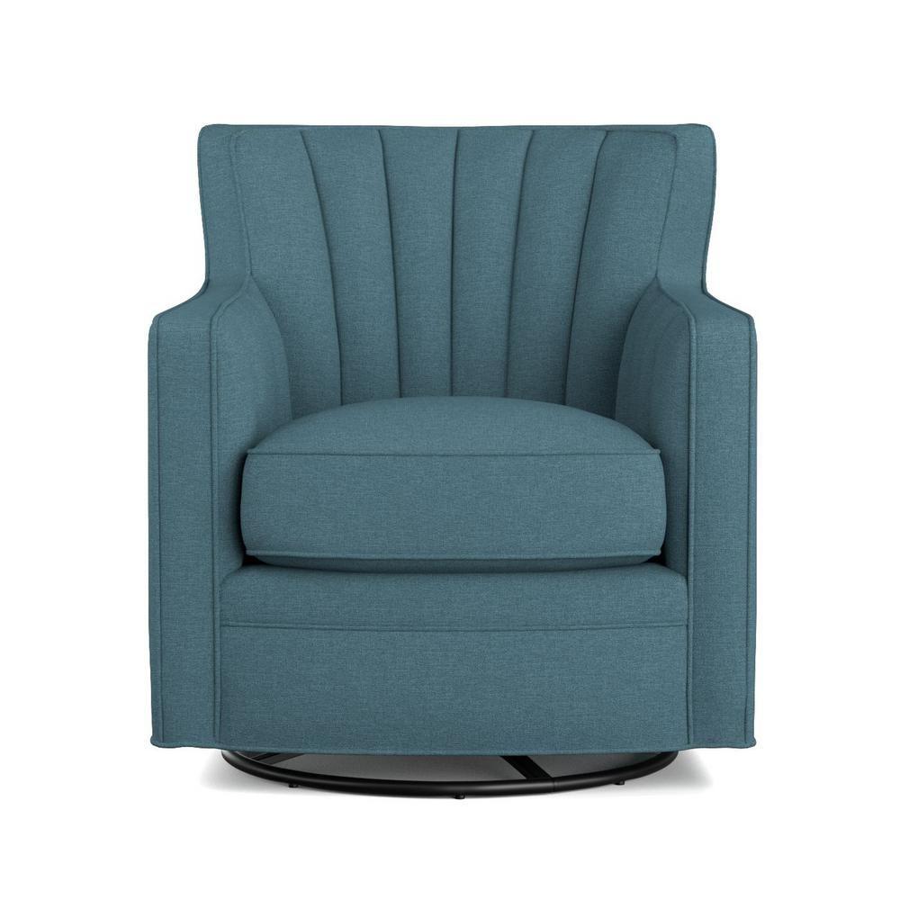handy living zahara blue linen swivel arm chair340clin55