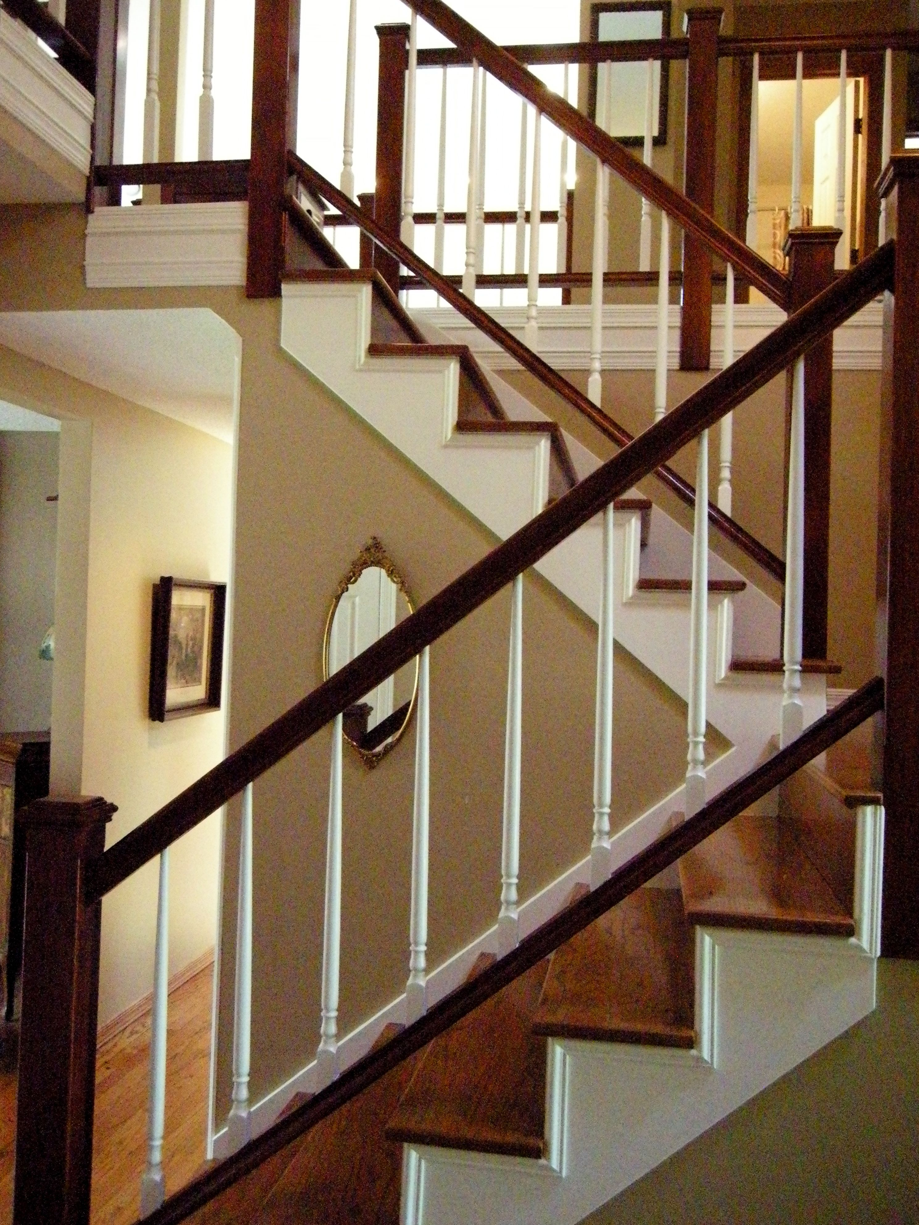 Best Painted Stair Skirts Risers Spindles With A Tonal Color Glaze Of Dark Cherry On Banisters 640 x 480