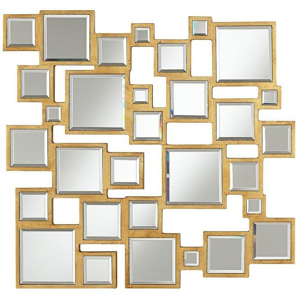 """Abstract Square 25"""" Wide Antiqued Gold Mirror ($130) found on Polyvore"""