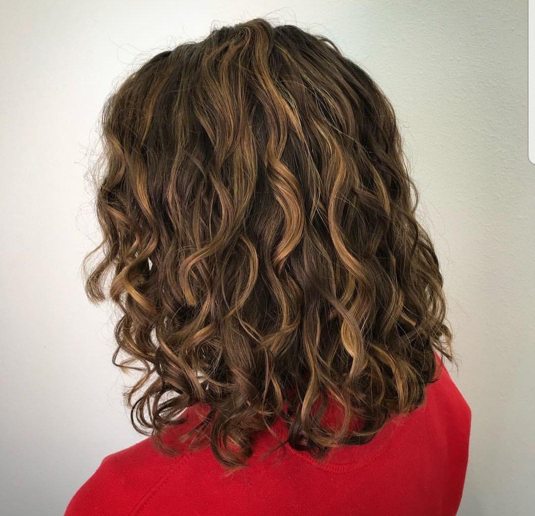 Brunette Hair With Caramel Highlights Short Brunette Hair Curly Hair Styles Curly Hair Salon