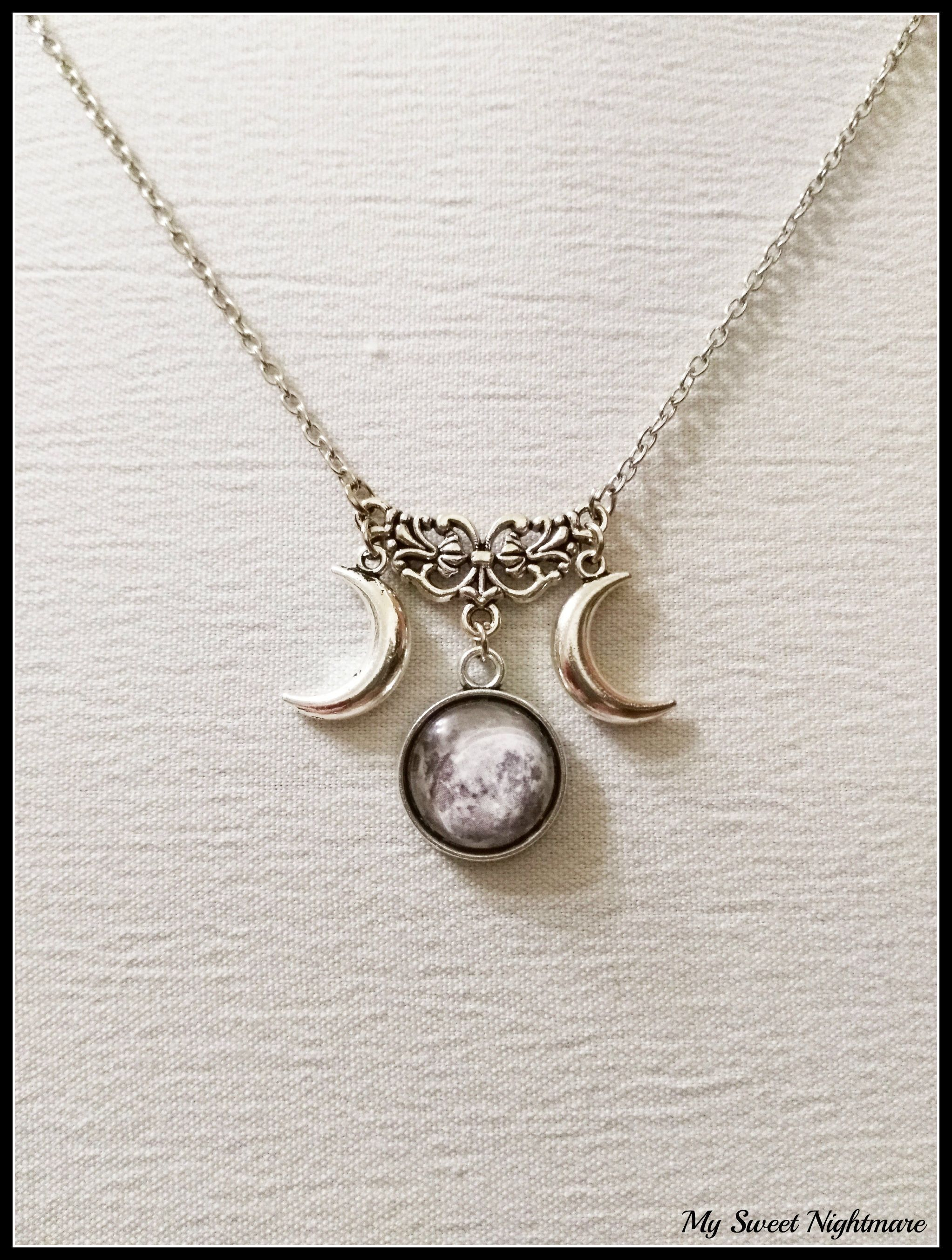 magic locket moon from pendant necklace triple goddess choker glass pentagram pagan wiccan product photo memories frame pentacle jewelry