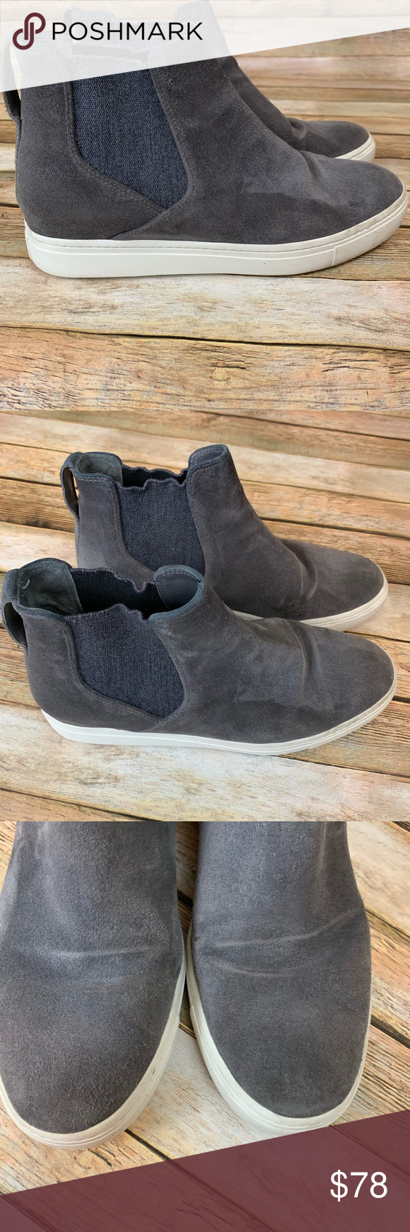 *Vince Newlyn Suede Gray Sneakers GUC Size 6.5 | Grey ...