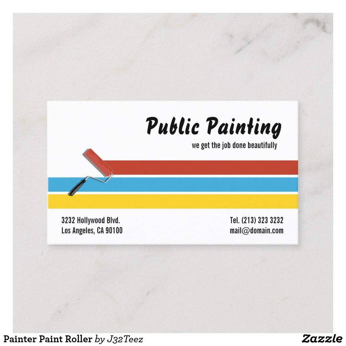 Painter Paint Roller Business Card Zazzle Com Modern Business Cards Paint Roller Painter Business Card