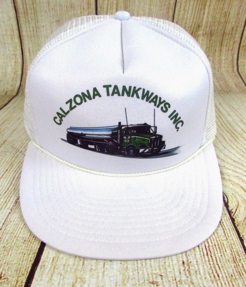 65add64fc0d08 Calzona Tankways Inc Trucker Snapback Hat Vintage Oil Truck White  Trucker