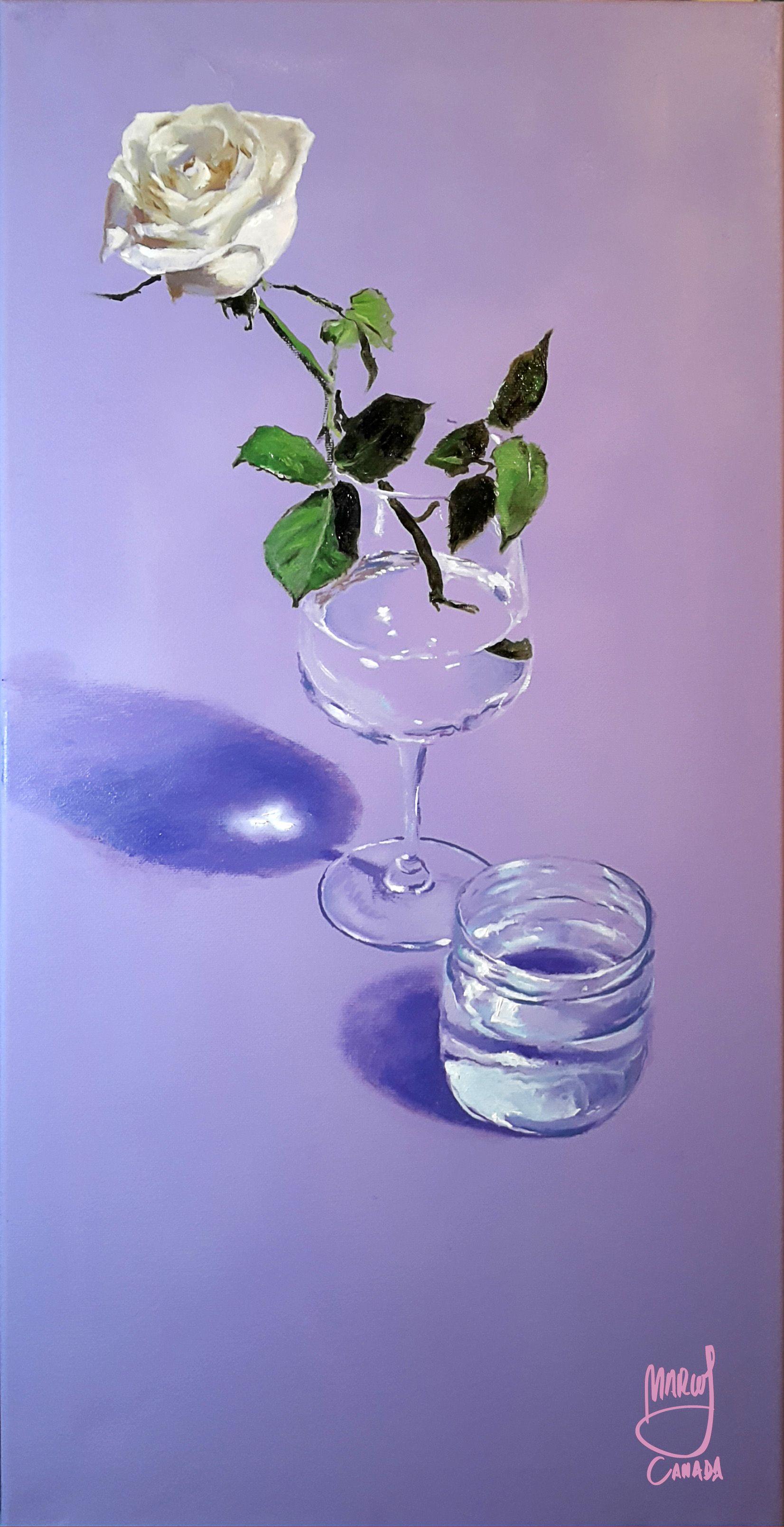 Still life in purple by Marcos Cañada. Oil on canvas 30 x 60 cm (11 ...