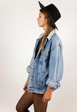 191e73f81a3 p•i•n•t•e•r•e•s•t ~ M.E.Line ✨ 80s Vintage contraste Levis veste en jean  col / R220