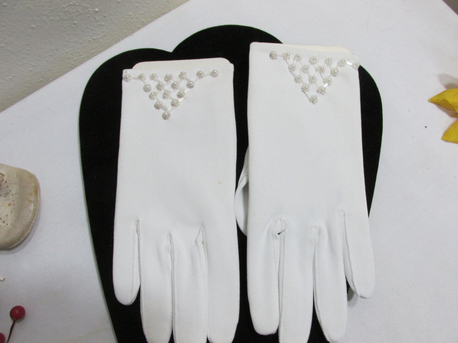 White Gloves with Faux Pearls  New Old Stock Perfect for a Wedding by LuRuUniques on Etsy