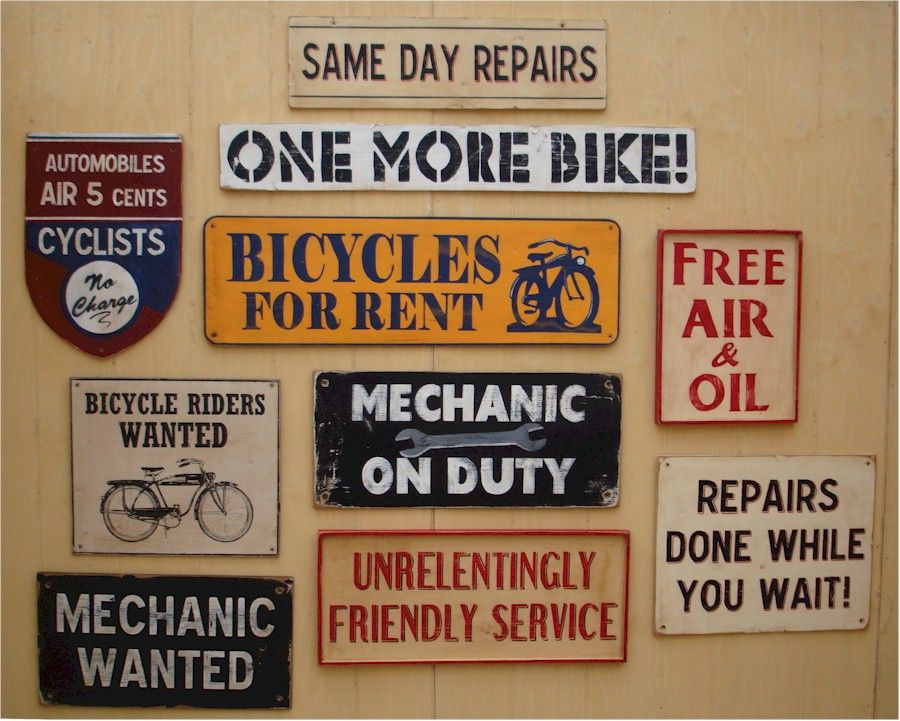 Decorative Signs For A Bike Store Hand Painted Vintage Signs How To Make Signs Decorative Signs