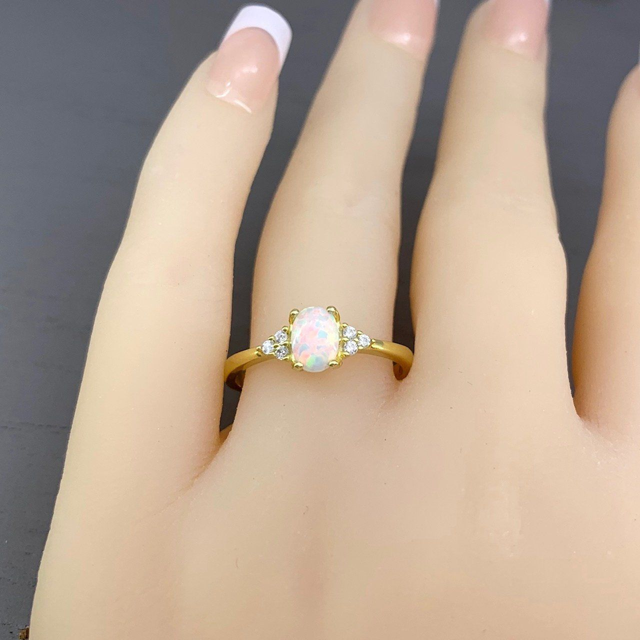 Yellow Gold White Fire Opal Ring Oval White Fire Opal Oval Simulated Diamond Three Stone Promise Engagement Sterling Silver Wedding Ring