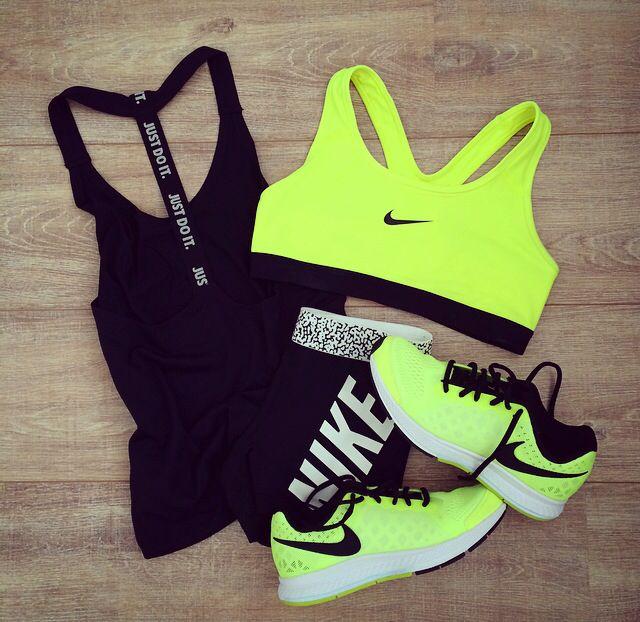 New Gym Clothes! nike sportswear volt black white