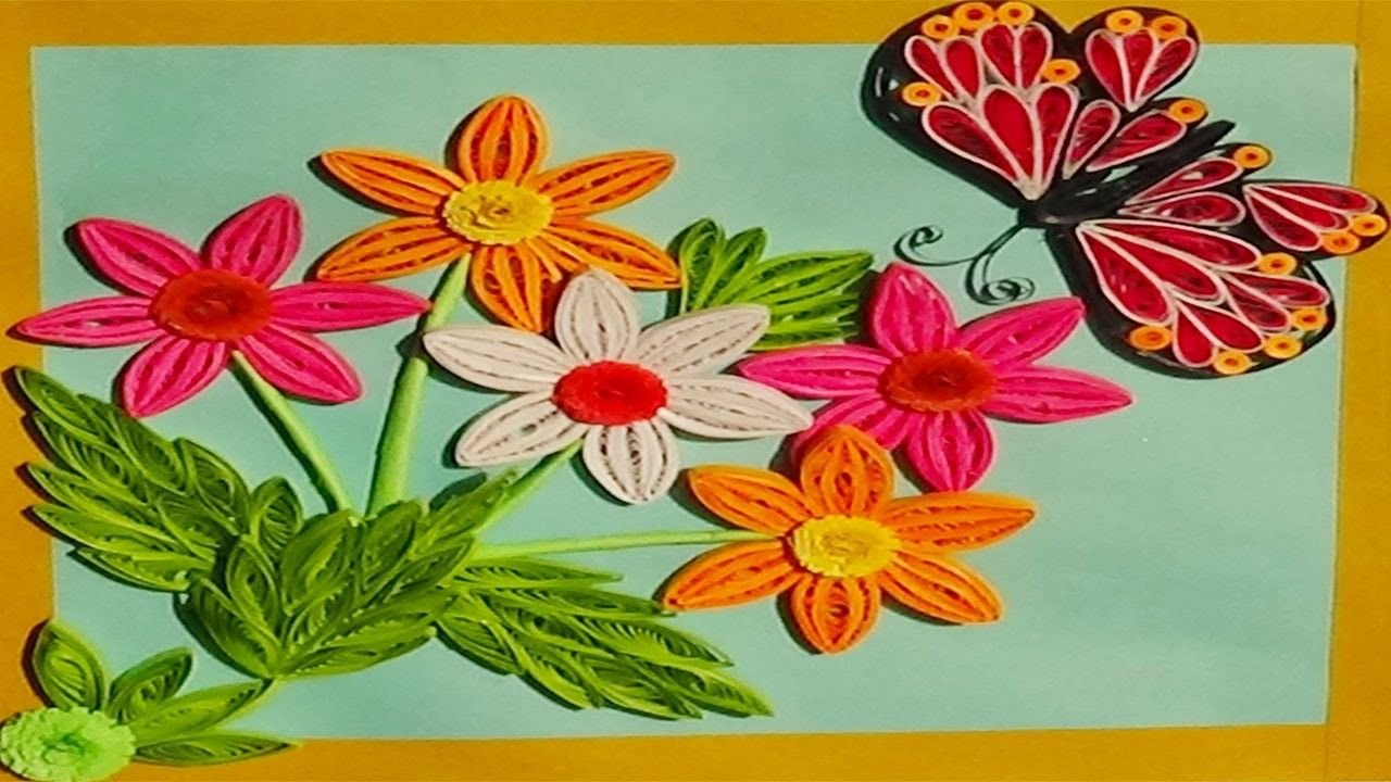 Paper Quilling Flowers With White Sunset Orange Dark Pink