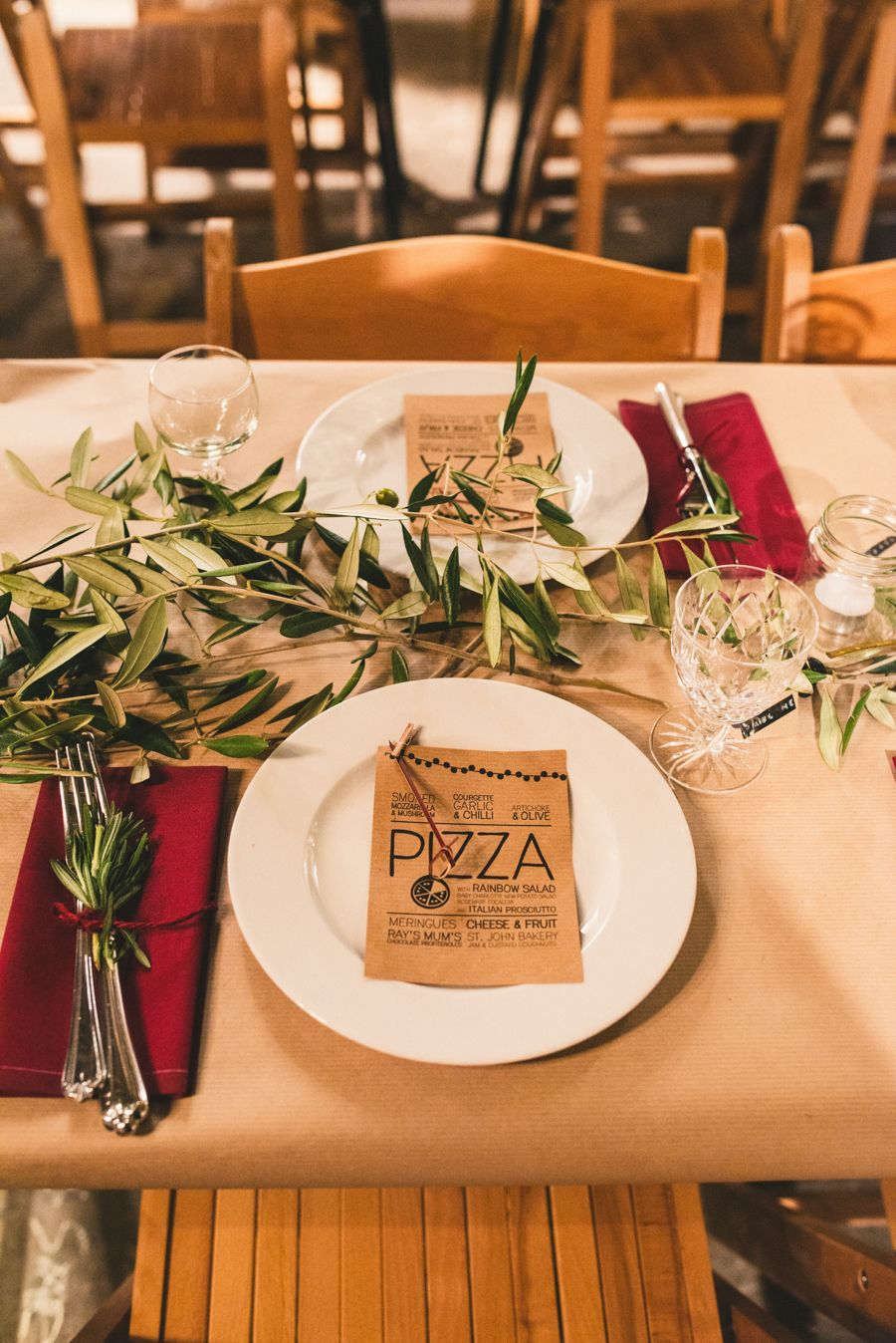 Rustic Table Setting For A Quirky London Warehouse Wedding With A