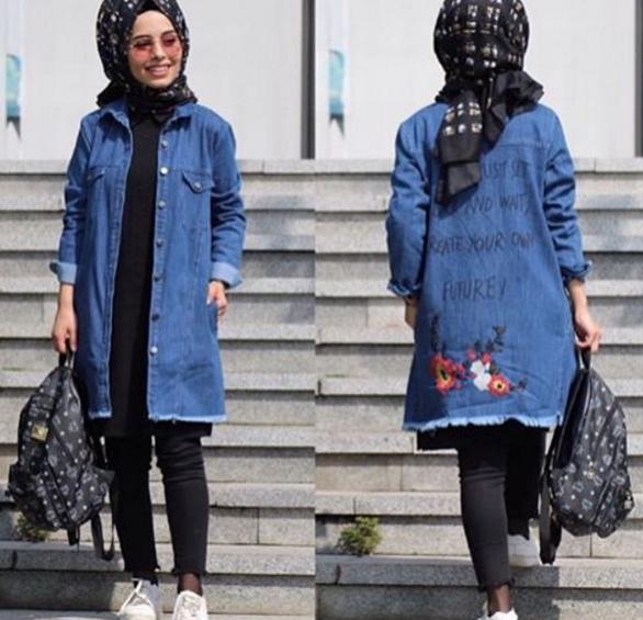 Baskili Tesettur Kot Ceket Modelleri Moda Tesettur Giyim Kot Ceket Moda Moda Stilleri