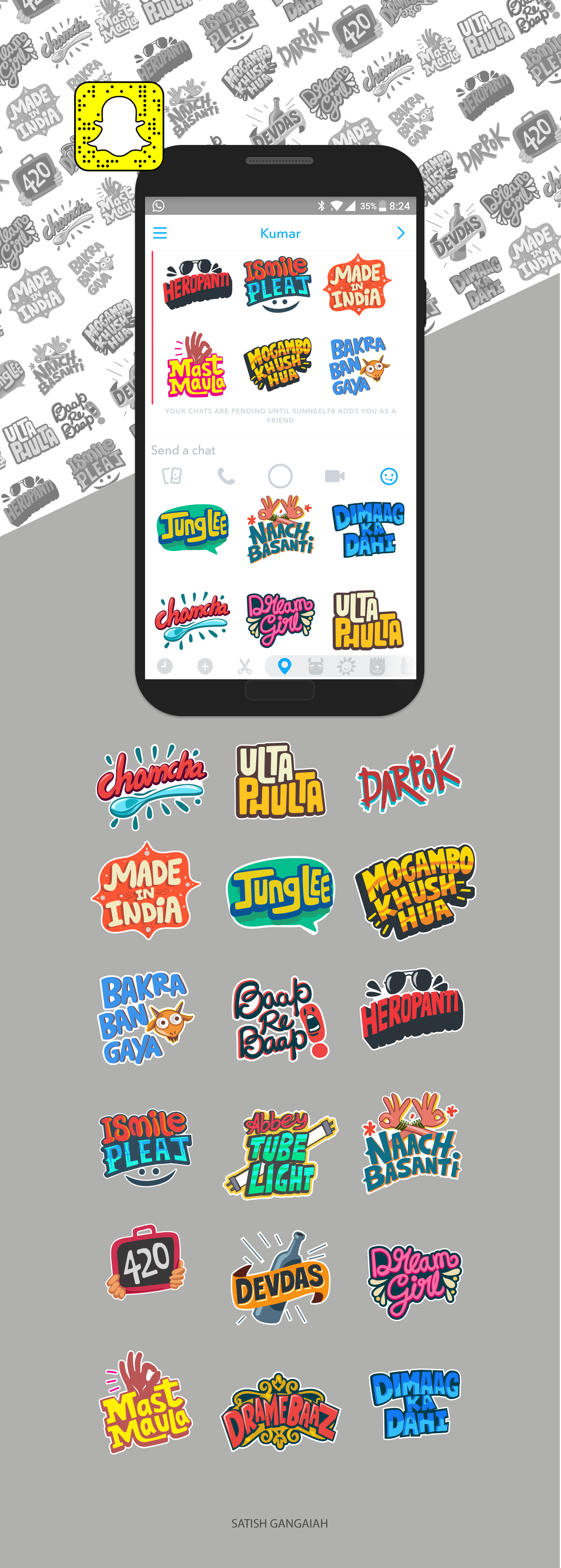 Sticker Design Snapchat 2 on Behance in 2020 Design