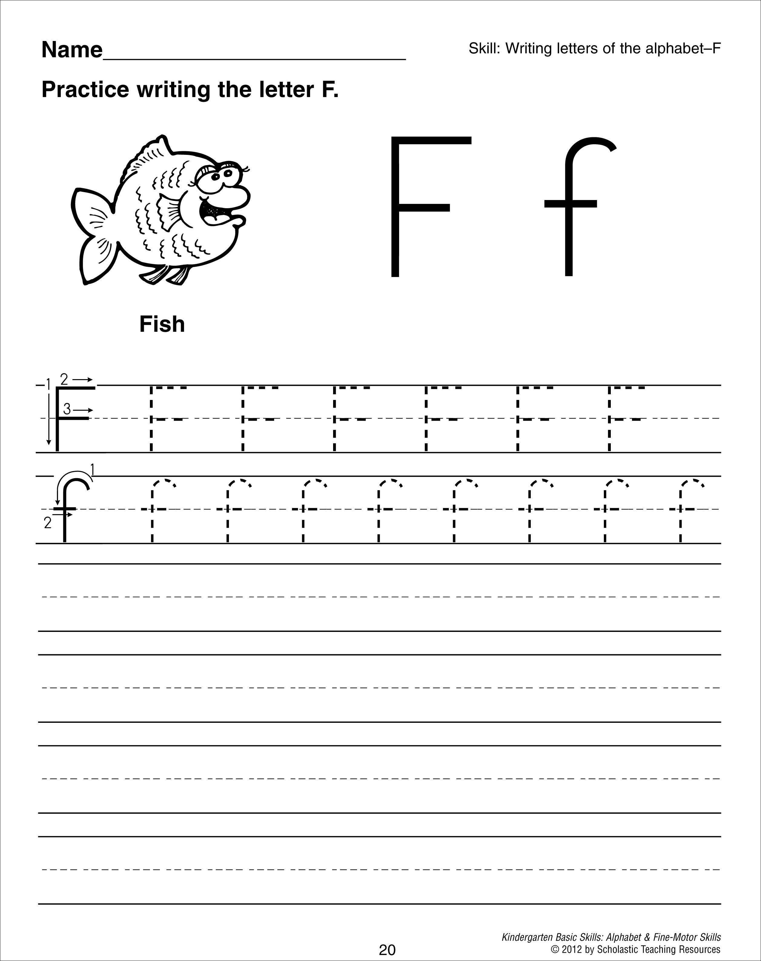 Letter F Tracing Worksheet – Name Tracer Worksheets