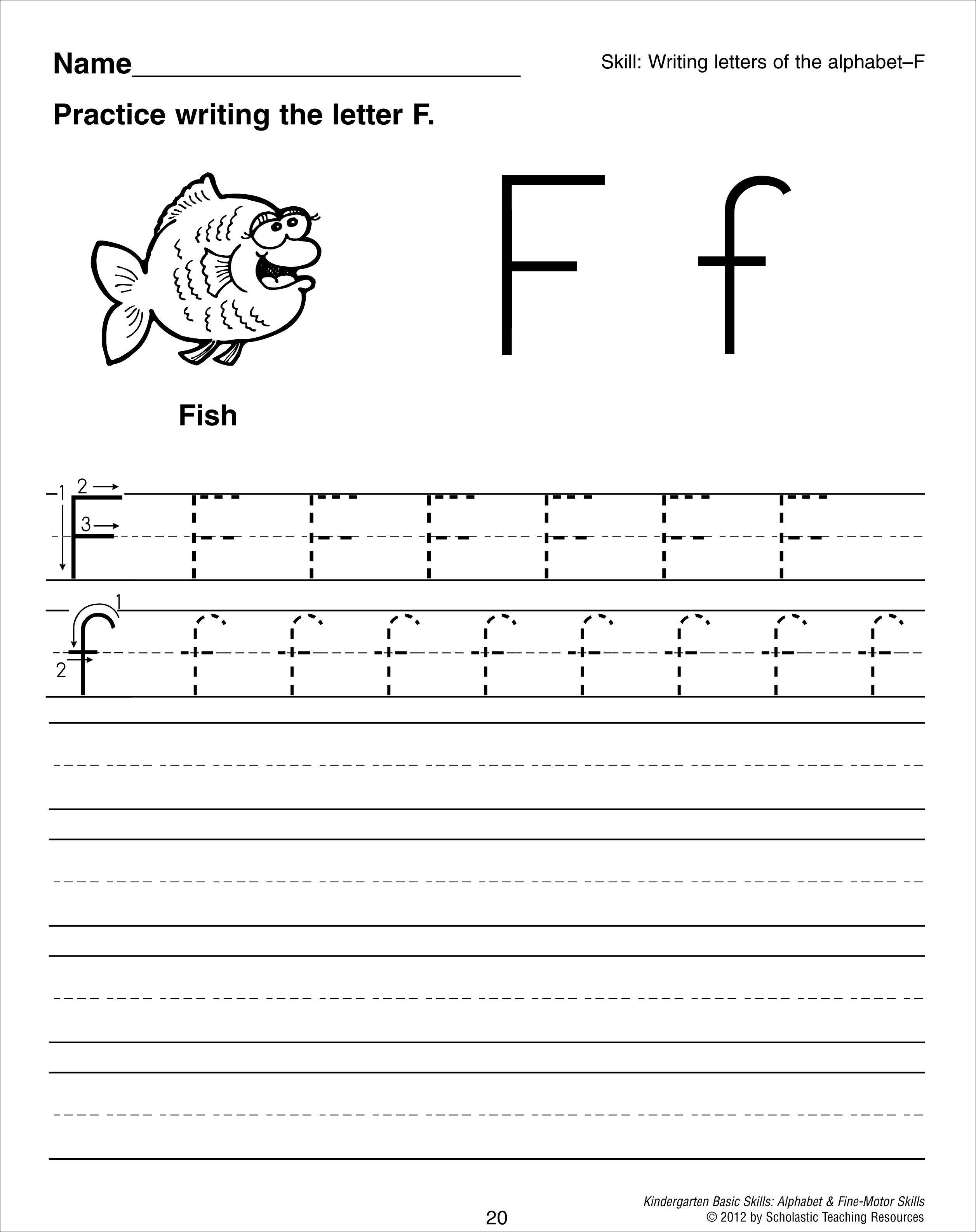 Letter F Tracing Worksheet | Preschool | Pinterest
