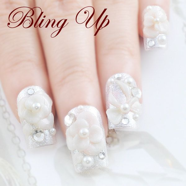 Wedding 3d Nail Art With Flowers Pearls And Rhinestones By Blingup