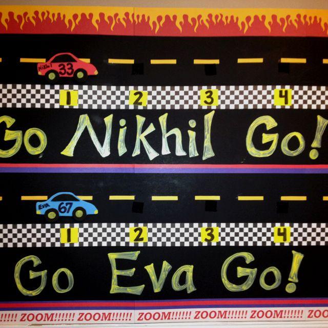 Race Car Theme On Task Chart For Kindergarten