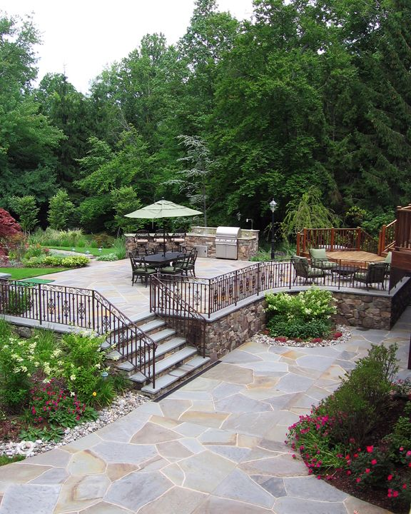 Outstanding Random And Regular Pattern Bluestone Patio Design With Inlays  And Borders Alpine NJ