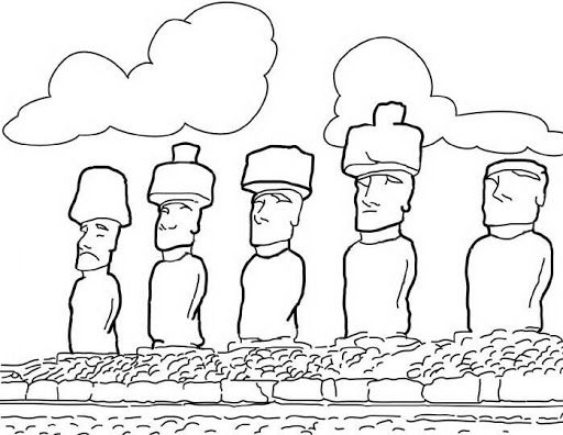 Moai Statues Coloring Page Coloring Pages Night At The Museum Easter Island Moai