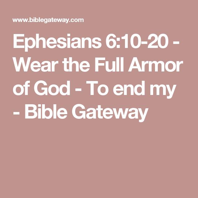 Wear The Full Armor Of God