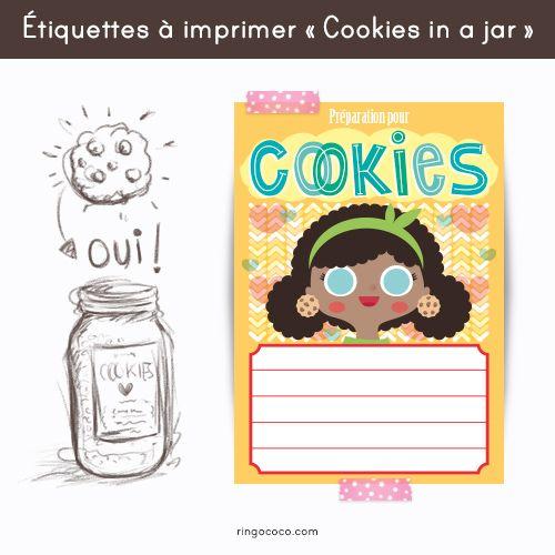 étiquettes pour bocal préparation cookies in a jar et biscuits à imprimer sur ringococo.com