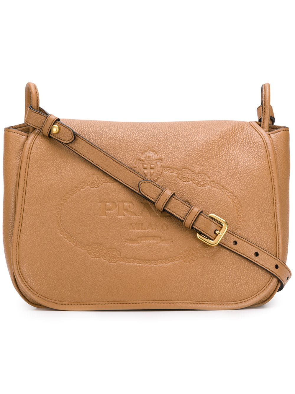 52b7affb18d PRADA PRADA EMBOSSED LOGO SHOULDER BAG - BROWN. #prada #bags #shoulder bags  #leather