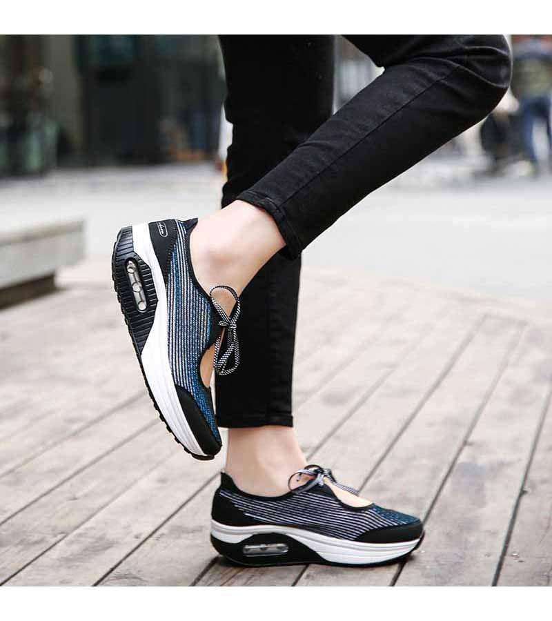 Women s  blue lace up  rocker bottom sole shoe sneakers stripe pattern 66b6b7491f50