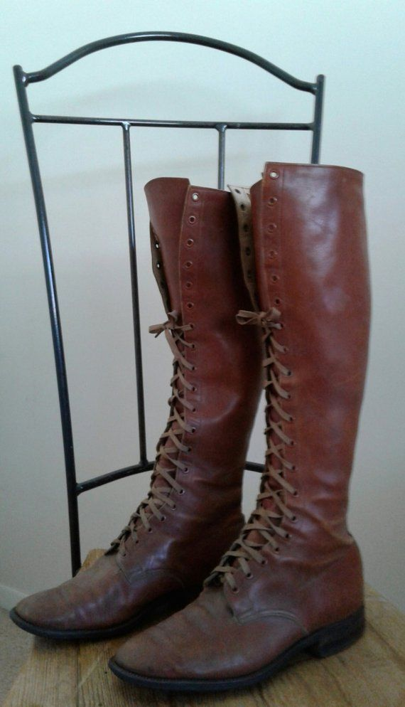 Vintage 1930s boots 30s caramel leather lace up boots