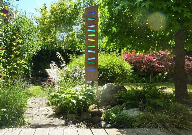 Skulpturen Gartenskulptur Aus Holz Und Glas Ein