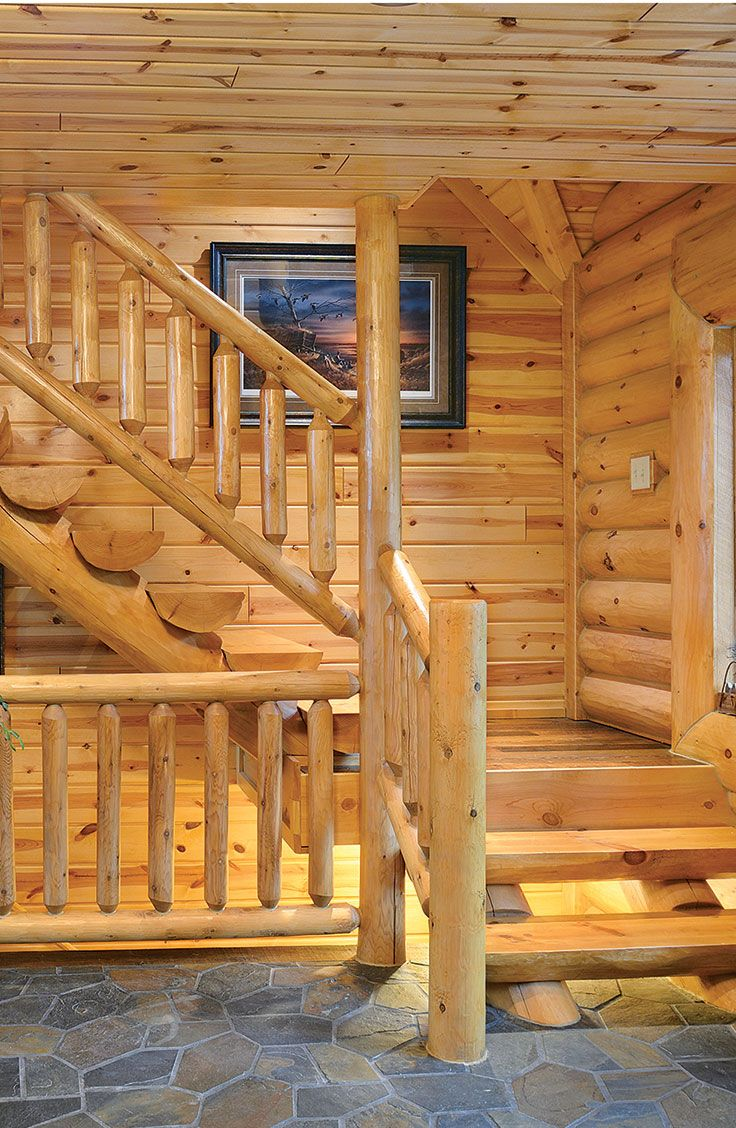 For true northwoods style choose log stairs for your