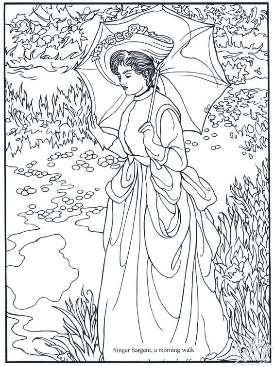 Morning Walk by S.Sargent: adult coloring page   Teken xxxxxxx ...