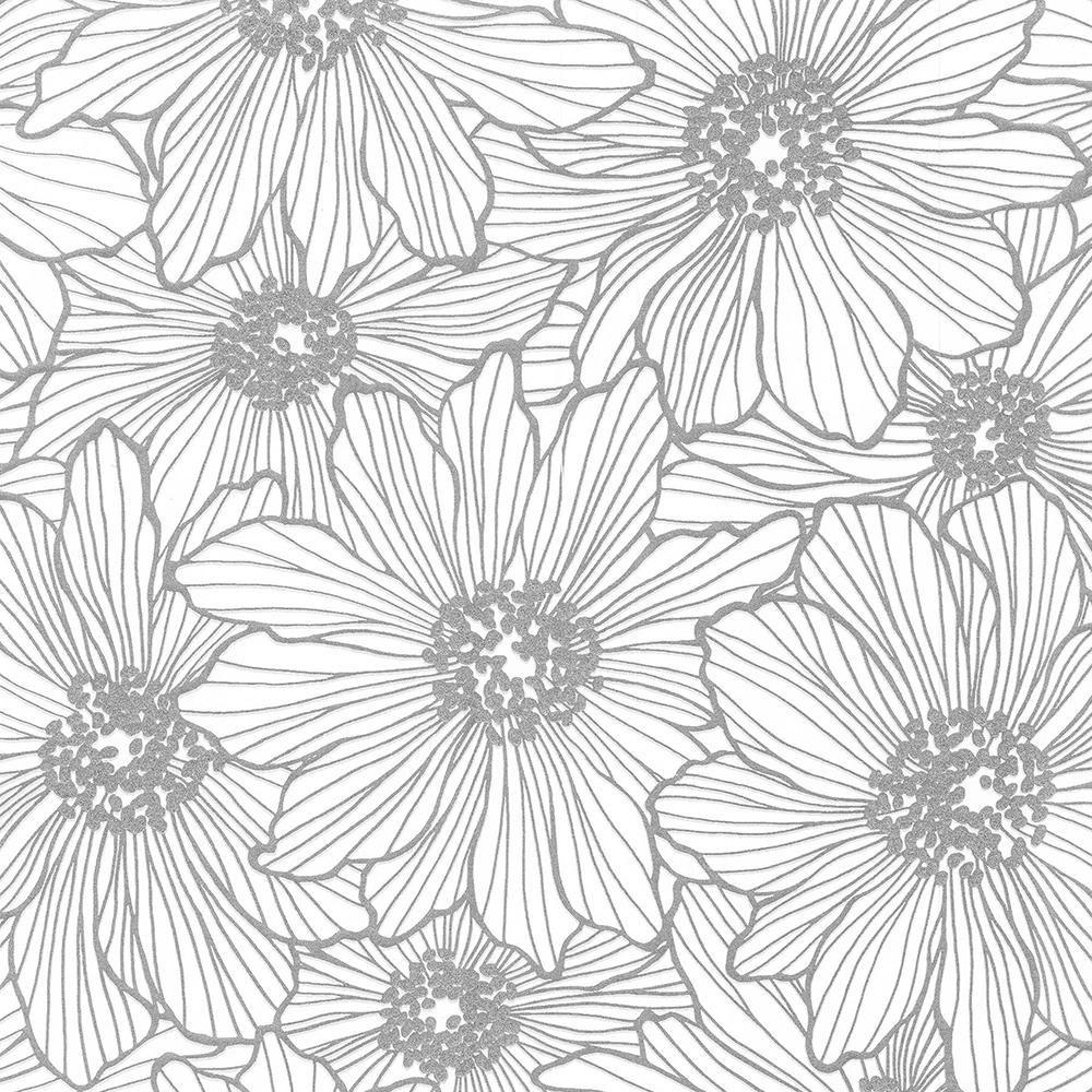 Advantage 56 4 Sq Ft Vivienne Silver Floral Wallpaper Floral