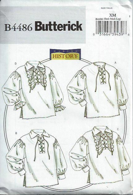 Renaissance Shirt Pattern : renaissance, shirt, pattern, Men's, Misses, Renaissance, Shirt, Pattern, Butterick, Sewing, Pattern,, Costume, Patterns,