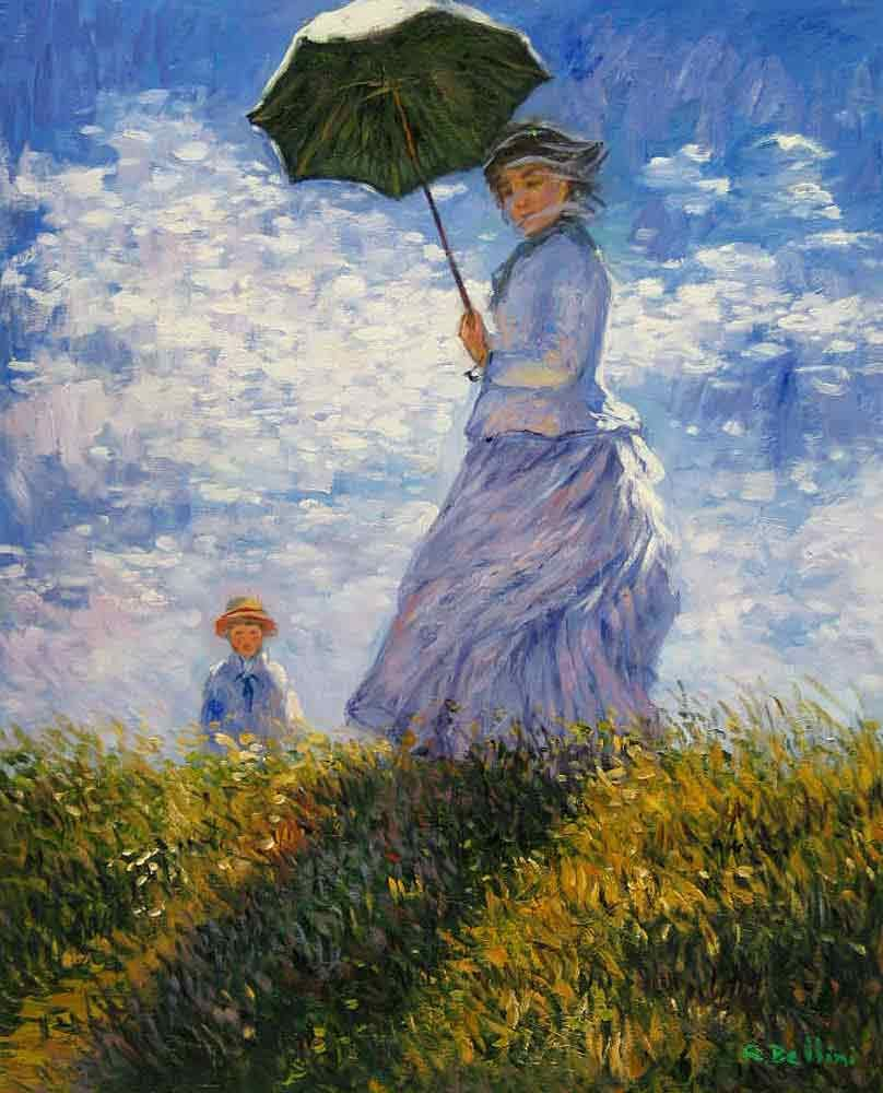 Woman With A Parasol Madame Monet And Her SonBy Claude Monet