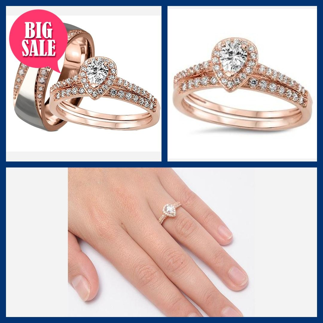 cdb3a318131 His her Wedding Ring Set 3 Piece Rose Gold Halo Diamond Cz Wedding Ring Set
