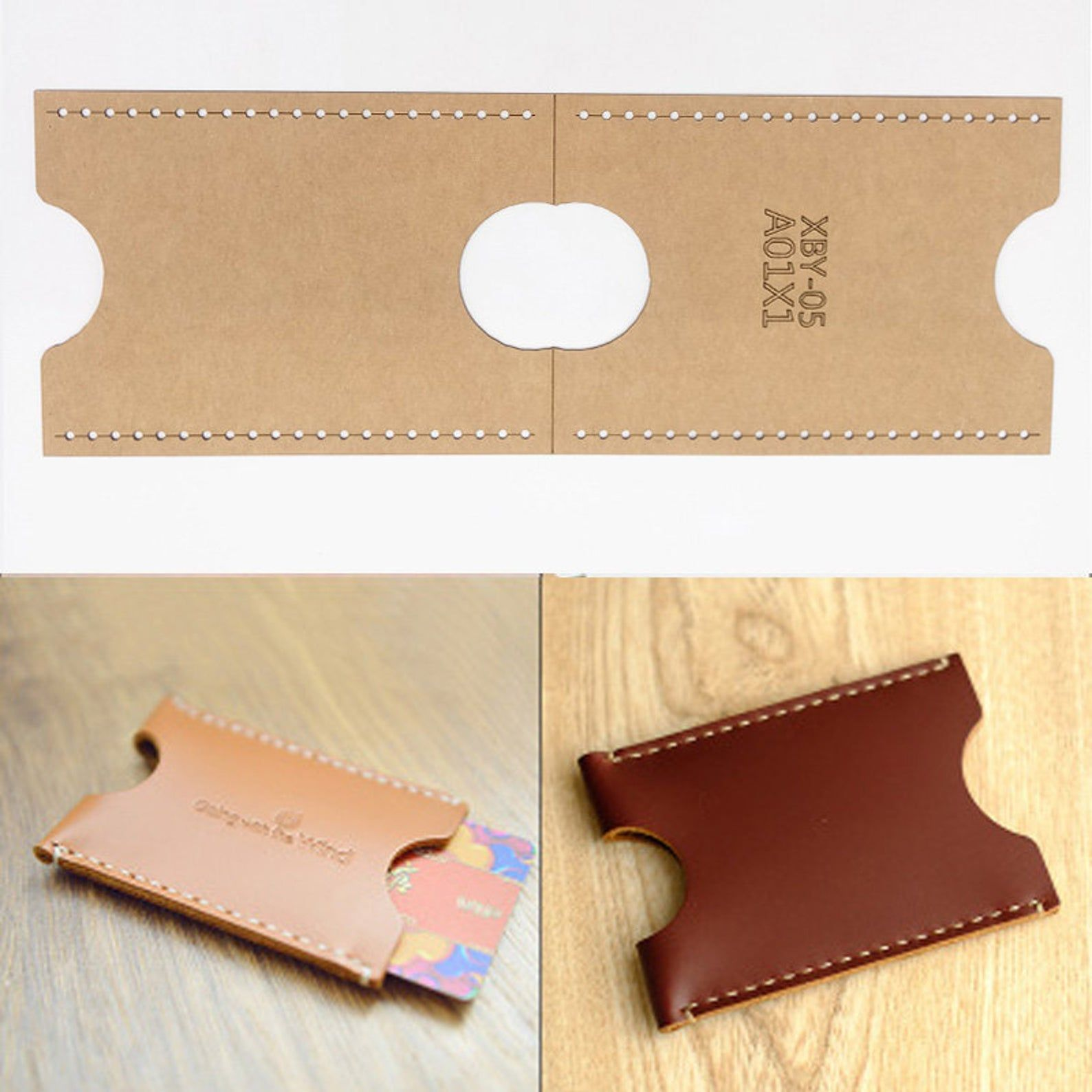 Diy Leather Craft Card Holder Storage Sewing Pattern Hard Etsy