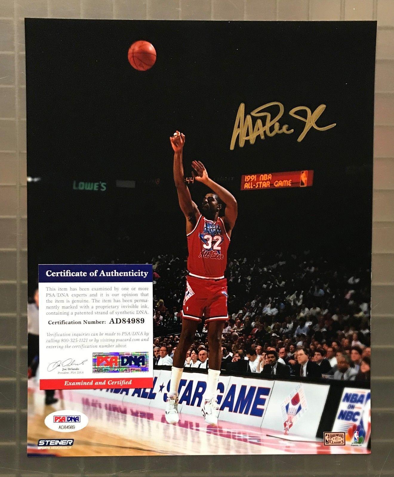 eeb62bfebab Magic Johnson Signed 8x10 All Star Game Photo Autographed AUTO PSA DNA COA   Basketball